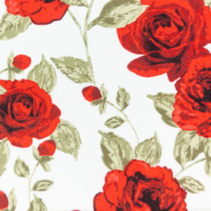 Country Roses (White) Cotton Poplin Print