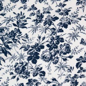 Navy Floral (White) Cotton Poplin Print