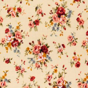 Vintage Roses (Cream) Cotton Poplin Print
