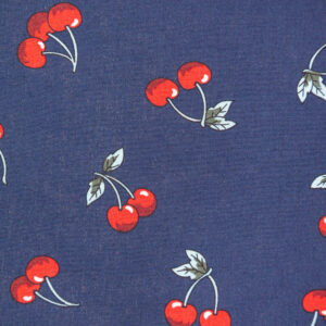 Ruby Cherries (Navy) Cotton Poplin Print