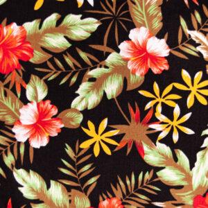 Totally Tropical (Black) Cotton Poplin Print
