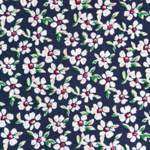 Little White Flowers (Navy) Cotton Poplin Print