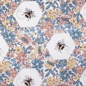 Bee-ing Busy Blue/Pink Cotton Poplin Print