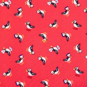Cheeky Puffins (Red) Cotton Poplin Print