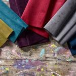 Boutique Velvet Fabric on Wood Workbench