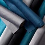 Boutique Velvet Fabric, Group of Rolls, Blue & Grey