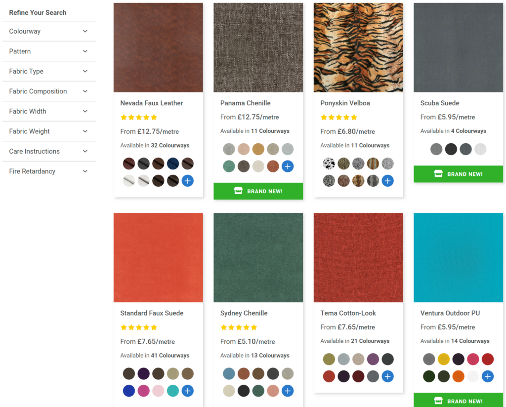 New Fabric Online Category Page
