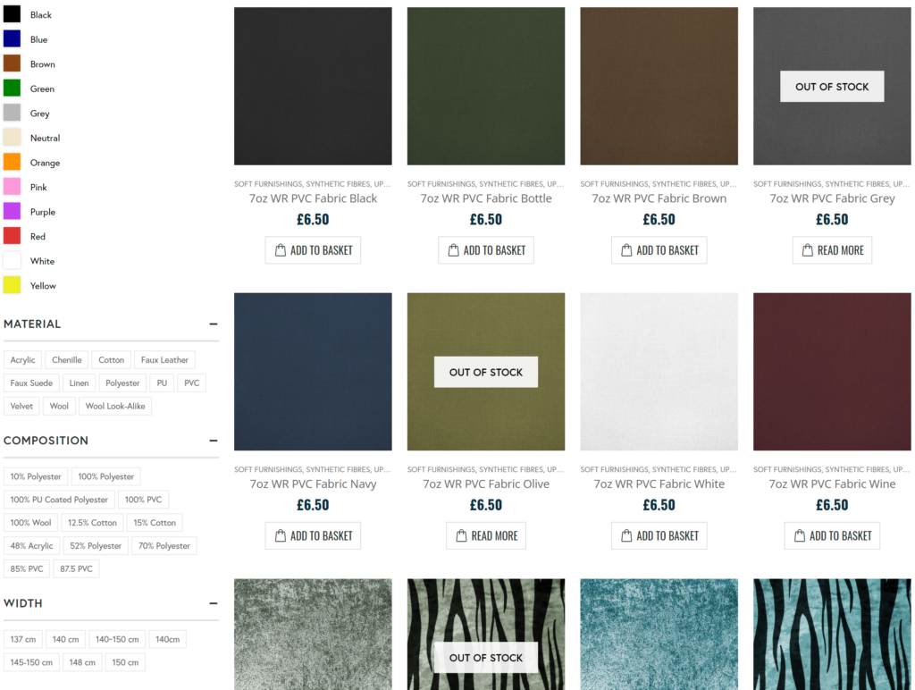 Old Fabric Online Category Page