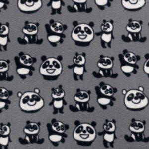 Grey Panda Printed Fleece Fabric