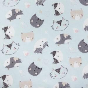 Quirky Cats Aqua Cotton Poplin Print