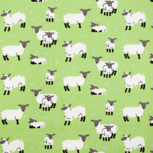 Simply Sheep (Green) Cotton Poplin Print