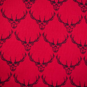 Stately Stags (Red) Cotton Poplin Print